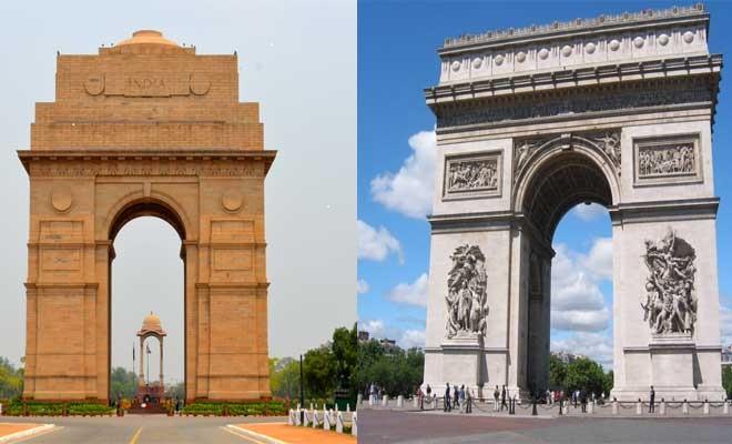 India Gate and l'Arc de Triomphe