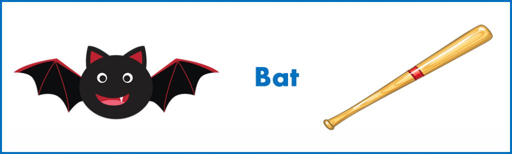 apprendre les mots anglais: signification différente de 'bat' en anglais
