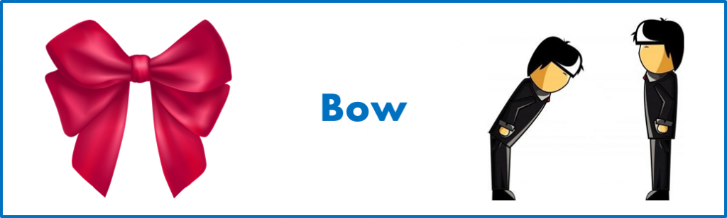 apprendre les mots anglais: signification différente de 'bow' en anglais